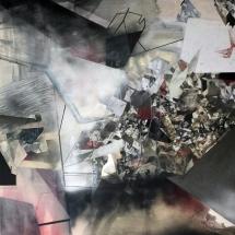Espace impossible 1, 250X170x2cm, peinture et collages photographiques sur bois