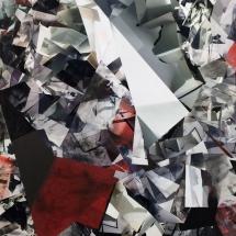 Espace impossible Fragment I, 220x110x4cm, peinture et collages photographiques sur bois