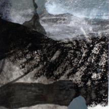 Bleu tache vert, 23x45cm, technique mixte sur papier,2010