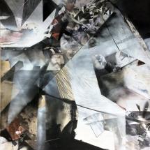 Espace impossible 2, 250X170x2cm, peinture et collages photographiques sur bois