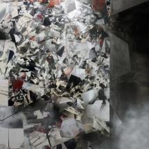Espace impossible 3, 250X170x2cm, peinture et collages photographiques sur bois
