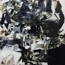 Espace impossible Fragment II, 220x110x4cm, peinture et collages photographiques sur bois