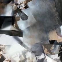 Espace impossible Fragment III, 220x110x4cm, peinture et collages photographiques sur bois