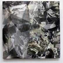 Espace impossible carré 1, 40x40x1.5cm, collages photographiques sur médium