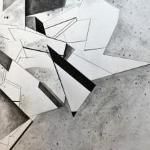 Plis sur plis PHOTO - art - installation - picture - kunst - studio - art contemporain - noir et blanc - peinture - dessin - espace - détail