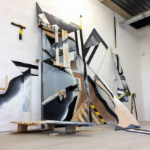 installation - wood - painting
