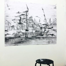 studio view - The foam of the see, pencil on paper, 140x110cm